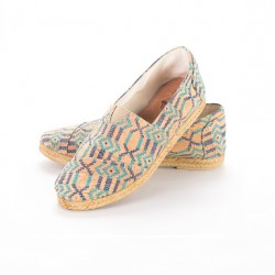 Espadrille boots, ethnic blue