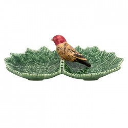 DOUBLE LEAF-SHAPED PLATE, BIRD