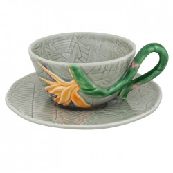 TEA CUP AND SAUCER, STRELITZIA
