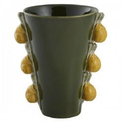 Vase, black with snails