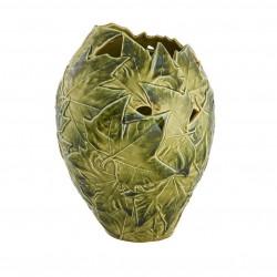 VASE, PLATANUM LEAVES - GREEN