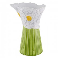 PITCHER - DAISIES, WHITE/GREEN
