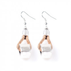 EARRINGS W/ SQUARES (BEIGE)