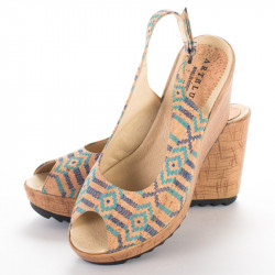 SLINGBACK WEDGE (ETHNIC BLUE)