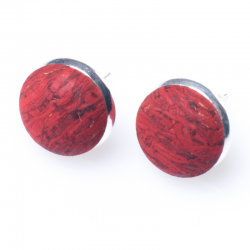 BUTTON EARRINGS (RED)