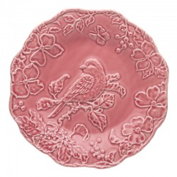 PLATE 25,5 BLUE BIRD DARK PINK