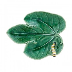 FIG LEAF WITH CATERPILLAR...