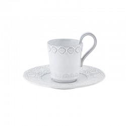 CUP WITH SAUCER, WHITE ANTIQUE