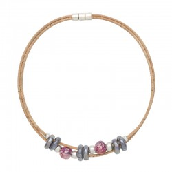 NECKLACE WITH GRAY AND PINK...